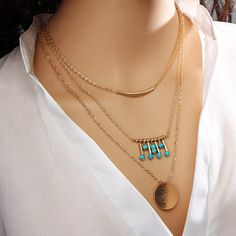 Sexy Multi Layer Chain Necklace Gift Bohemia Tassel Maxi Chocker Gold Color  2016 Sweater Statement Necklaces for Women 858ad3d8c2ae