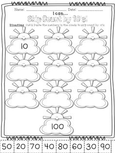 Counting by 10's. So cute!