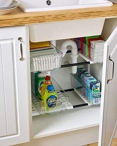 Under Sink Storage Under Kitchen Sink Storage, Kitchen Cupboard Organization, Kitchen Cupboard Designs, Cupboard Shelves, Bedroom Cupboard Designs, Kitchen Cupboards, Kitchen Storage Furniture, Cabinet Organizers, Cupboard Ideas