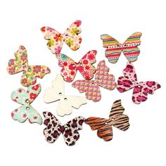 DoreenBeads Wood Sewing Scrapbooking Button Butterfly At Random Two Holes Flower Pattern 28mm x 21mm,7 PCs 2015 new
