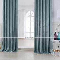 2 шторы Современность Твердый Синий цвет Спальня Полиэфирно-льняная смешанная ткань Панель Шторы занавески 4987432 2016 – €60.75