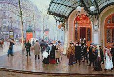Paris in Art, Jean Beraud, Outside the Theatre du Vaudeville, Modern Postcard Old Paris, Paris Art, Boulevard Des Capucines, Jean Beraud, Paris Kunst, Art Parisien, Jazz, French Impressionist Painters, Jean Leon