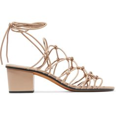 Chloé Knotted leather sandals ($730) ❤ liked on Polyvore featuring shoes, sandals, beige, beige shoes, leather footwear, genuine leather shoes, strappy shoes and strap shoes