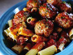 Pioneer Women's recipe for rigatoni and meatballs :)