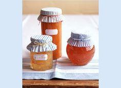 mason jar ideas - cupcake wrapper lid toppers via Martha Stewart
