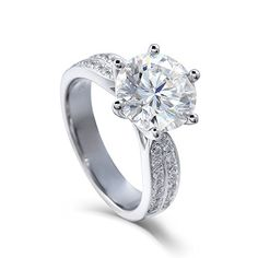 White goldMoissanite Engagement Ring with Real Diamond Accent and Main stones 6.5mm to 9mm DE color (3 carat)