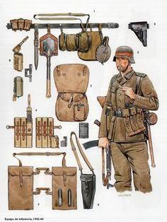 Tysk infanteriet oppakning og udrustning fra 1944-45 . note hans våben er et stormgevær stg44