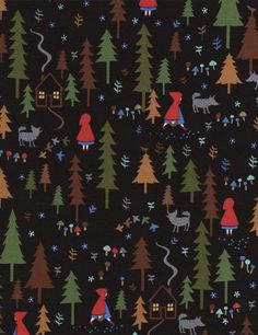 1 yard Red Riding Hood Forest Scenic Black Fabric by by quilttaffy