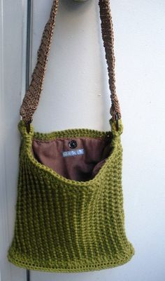 Evergreen olive cotton crochet purse with flannel by luvbuzz, $50.00 #boebot #vintage