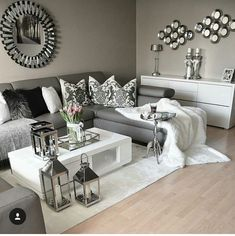 Grey and white, gray living room decor ideas, black living room furniture, Living Room Grey, Home Living Room, Living Room Furniture, Living Room Designs, Silver Living Room, Living Room Ideas With Grey Couch, Cozy Grey Living Room, Living Room Decor Ikea, House Furniture