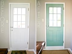 Good idea for the inside of my front door. Dining Room Redo - DIY Painted Door Behr Mermaid Net Before and After Faux Window, House Design, House, Home Projects, Home, Painted Doors, New Homes, Home Diy, Teal Paint