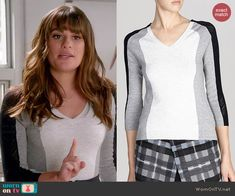 Rachel's grey colorblock sweater with mesh sleeves on Glee.  Outfit Details: http://wornontv.net/45820/ #Glee