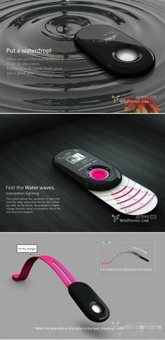 Morning Dew, a sliding phone design concept by Seunghan Song, slide your phone and get charged, not just a phone, it's art