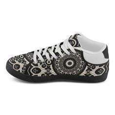 Black Lace Women's Chukka Canvas Shoes (Model 003)