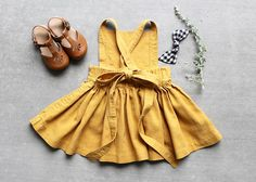 Mustard Pinafore Dress Made to Order