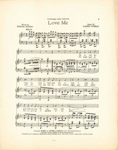Wings of Whimsy: Love Me - 1914 Sheet Music Notes - free for personal use