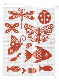 Any of these small cross stitch patterns can be adapted for seed beed brick or loom weaving. Just remember they will slightly elongate because cross stitch is based on a square and a seed bead is more oval. Small Cross Stitch, Butterfly Cross Stitch, Cross Stitch Animals, Cross Stitch Charts, Cross Stitch Patterns, Cross Stitching, Cross Stitch Embroidery, Embroidery Patterns, Knitting Charts