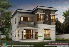 4 bedroom modern double storied flat roof house plan in an area of 1600 square feet by Greenline Architects & Builders, Calicut, Kerala. Big Modern Houses, Japanese Modern House, Modern House Facades, Modern Architecture House, Modern House Design, Web Design, Roof Design, House Roof, Facade House