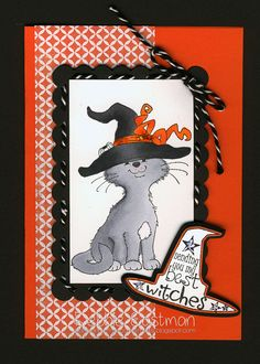 Cat Witch [C1191] - $8.50 : Whimsy Stamps