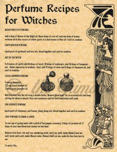 Recipe for Making Lotions & Perfume Potions for Wicca Spell Book of Shadows