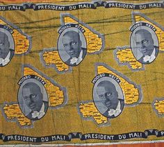 Commemorative wraps (Pagnes) printed on wax fabric in the Malian Modibo Keita Mali