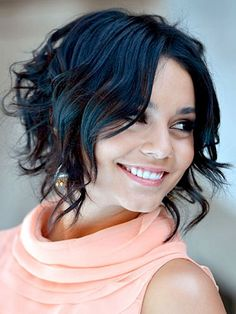 Short wavy hairstyles with side bangs and layers for women with round faces and thick hair