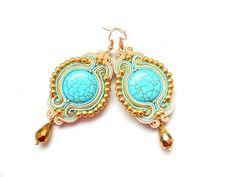 Soutache pendientes en turquesa, oro y crudo. de Soutache Jewelry