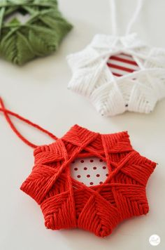 step-by-step instruction for how to make these easy and inexpensive woven star ornaments - great for kids!