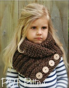 Knitting pattern - The Ruston Cowl (The Velvet Acorn Designs) Little kids in crochet/knit wear are fricken adorable! Knitting For Kids, Loom Knitting, Knitting Projects, Baby Knitting, Crochet Baby, Knit Crochet, Knitting Patterns, Crochet Patterns, Knitted Cowls