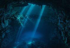 Underwater Maya ruins cave in Mexico.
