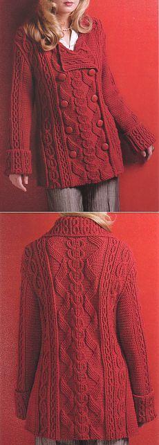 Пальто с косами/ Cream knitted