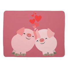 Cartoon Mother Pig with Babies   Cute Cartoon Pigs in Love Baby Blanket   Zazzle