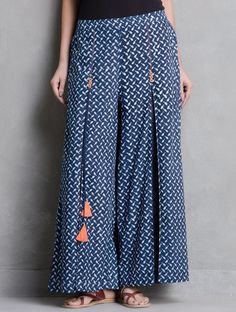 Buy Indigo White Coral Dabu Printed Pleated and Tassel Detail Elasticated Waist Palazzos by Indian August Cotton Apparel Pants & Skirts Online at Jaypore.com Dress Designs, Designer Dresses, Designer Gowns, Designing Clothes