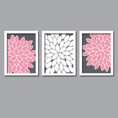 Pink Gray Grey White Flower Burst Gerbera Daisies by trmDesign