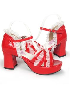 #sandales #lolita Sandales Lolita rouges en PU ébouriffé plateforme à talon