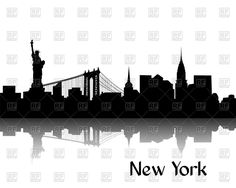 Silhouette of cityscape of New York - Brooklyn Bridge, Statue of Liberty and Manhattan, 44762, download royalty-free vector clipart (EPS, JPG)