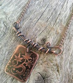 Etched Copper Tree Necklace with Branch and by silkcreekmetalworks, $35.00