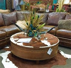 Our Round Cowhide Ottoman Is Available In 4 Hide Choices. Antique Nail  Heads Trim The Perimeter Of The Ottoman. Western Furniture Handcrafted In  The USA.