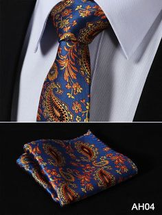Assorted Silk Woven Necktie and Pocket Square Suit Set