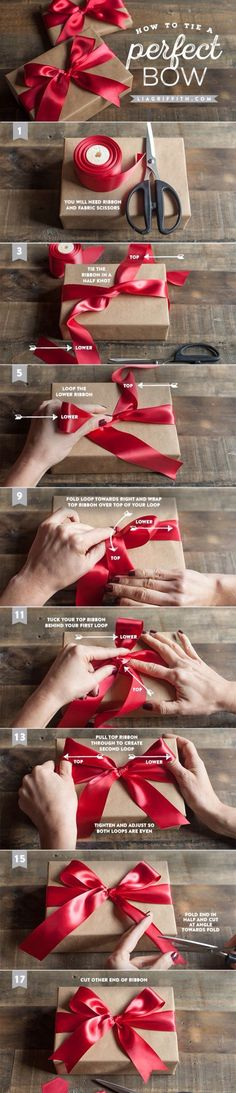 Brilliant bow tutorial - Your Christmas wrapping theme can be more important than the present itself, are we right? If so, you'll need to know how to tie the perfect bow ; All Things Christmas, Holiday Fun, Christmas Holidays, Christmas Decorations, How To Tie A Christmas Bow, Christmas Christmas, Rustic Christmas, Craft Gifts, Diy Gifts