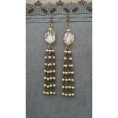 Pearl Tassel Earrings Vintage Champagne Crystals Pave Jewelry Bridal... ($50) ❤ liked on Polyvore featuring jewelry and earrings