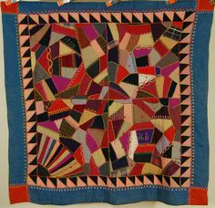 OUTSTANDING Vintage Wool Crazy Antique Quilt, SAWTOOTH BORDER ~116 YEARS OLD!