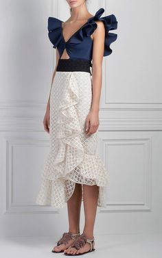 White Wave Midi Skirt by Johanna Ortiz | Moda Operandi
