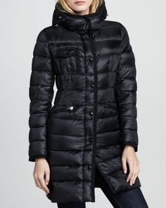 Hermine Darted-Waist Puffer Coat, Black by Moncler at Neiman Marcus.