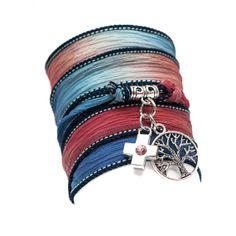 SILK wrap BRACELET, silk ribbon bracelet, hand dyed, with Tibetan Silver Tree of Life Charm Pendant and silver rhinestone cross