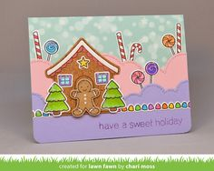tthe Lawn Fawn blog: Fawny Holiday Christmas card by Chari Moss (using Sweet Christmas and Puffy Cloud Borders)