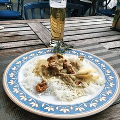 """109 Likes, 3 Comments - Gabriella Buzas (@epicstreetstyle) on Instagram: """"Totally amazing mango chicken curry ♨ . ."""" tasty food foodie dinner beer Basel Switzerland summer terrace alfresco Hotel Victoria travel"""