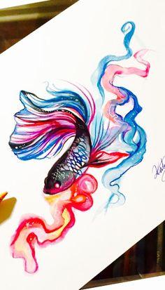 Resultado de imagen para black and white beta fish tattoo