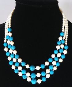 decorated brass pendant glass beads Pearl China Japan Japanese inspired blue necklace