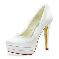 Belles Satin Stiletto talon pompes avec des ruches chaussures de mariage  (plus de couleurs) – EUR €